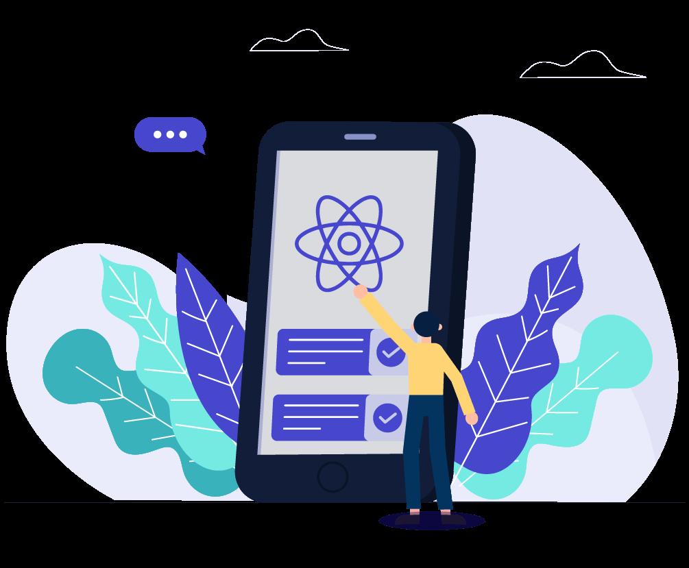 React-Native-app-Development-vector-image
